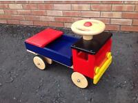 Traditional style colourful wooden sit on / ride on toy truck - good condition