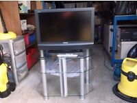 one sony bravia 28 ins,television plus remote and stand ,both tele. and stand in good condition