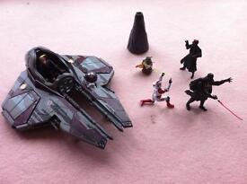Rare Star Wars Obi-Wan Jedi StarFighter Eta-2 Vehicle + 5 Toy Figures