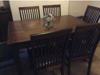 Dinning Table 6 Chairs and Unit Dark Wood nearly new