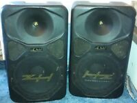 HZ HE300 300W PROFESSIONAL LOUDSPEAKERS PAIR includes 2 satellite poles - OPEN TO OFFERS