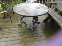 Vintage wrought iron large garden table £30 in pieces so easy to collect st helens