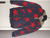 Mini-Boden shaggy lined hoody. Age 6-7 years. Navy blue with red star print. Boy or girl.