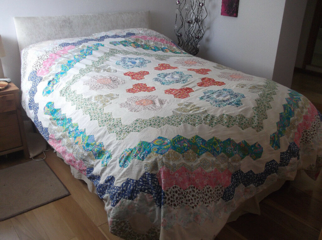 Patchwork Quilt, Double Sided, Vintage, Hand Made, Double