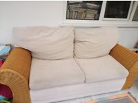Wicker bed settee and chair, good condition