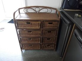 Bamboo and wicker basket unit