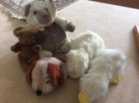 2 teddies 2 ducklings and 1 doggie soft toys for a fiver