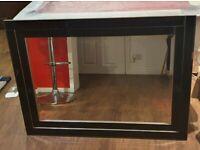 Itallian designer Large black glass wall mirror.