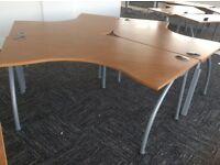 Three Beech Angled Desk Set
