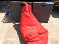 John Lewis outdoor bean bag seat, red.