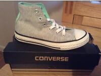 Unisex Grey And Mint All Stars Converse