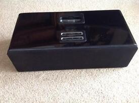 iPhone iPod HMDX Black Gloss Hardwood Speaker Docking System