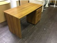 Walnut rectangle desk with matching pedestal