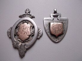 ANTIQUE SOLID SILVER AND ROSE GOLD POCKET WATCH FOBS