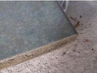 Kitchen worktop unused Sage green marble effect