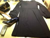 L.K.BENNETT shoes, dress, belt, all navy patent with a L.V. Clutch bag sold together or separate