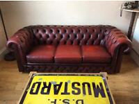 Vintage ox blood chesterfield sofa