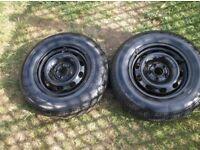 2 x v w golf mk 4 1998 to 2004 steel wheels c/w excellent 175 x 80 x 14 tyres , good tread i new