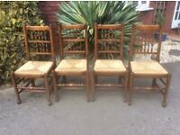 Set of Four Vintage Fruitwood and Beech Dining Kitchen Chairs