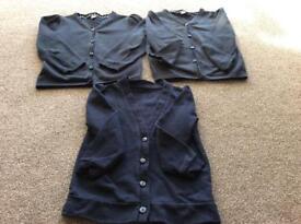 School navy blue cardigans, 2x Tu & 1x George, age 7