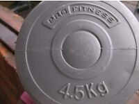 2 x 4.5 Pro Fitness Dumbbell weights *** Can deliver***
