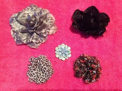 5 Flower brooches/5 Flower Clips