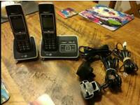 BT cordless phone, twin handsets