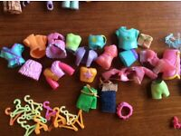 PollyPocket dolls and clothes bundle