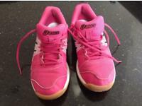 Pink Asics Badminton Shoes Size 2UK