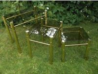 VINTAGE NEST OF THREE TABLES GOLD FRAMES SMOKED GLASS