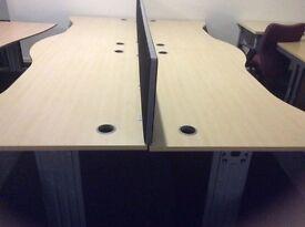 Four Light Oak Wave Front Desks and Dividers.