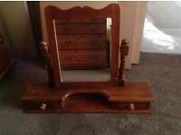 Mirror on stand for a dressing table or chest of drawers