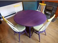 Ercol Dining Table and Chairs | Uniquely Refurbished Modern Purple/Yellow Design