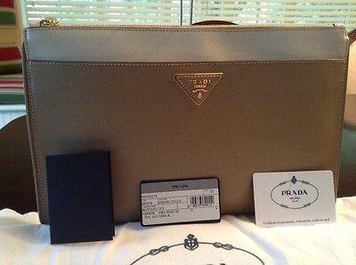 Prada Saffiano Bicolor Pouch, Visone/Talcom Clutch  Leather BP597B