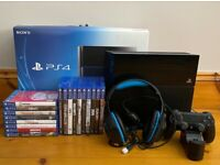 PlayStation 4, original box, 18 games, headset