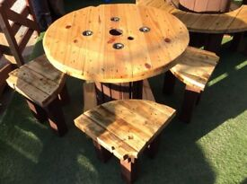 4 seat wooden garden table with coffee table/stools Patio cable-reel Furniture
