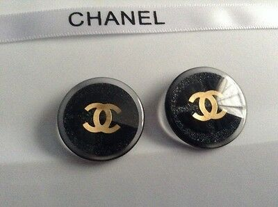 Sale!! 2 CHANEL 25mm Authentic Replacement Black Button Classic Gold CC Logo