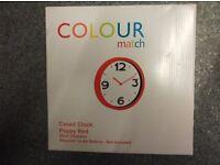 COLOUR MATCH POPPY RED CLOCK - STILL IN BOX - £5 - BANGOR AREA
