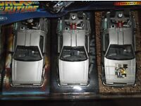 Back to the Future I II III Trilogy Set DeLorean Time Machine 1:24th MINT /WELLY/rare