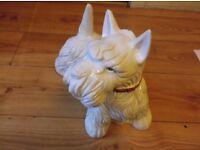 Heavy Ceramic Dog Westie/Scottie in white