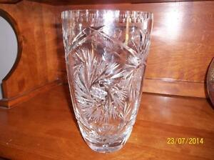 NEW PRICE-Antique-LEAD CRYSTAL ETCHED VASE