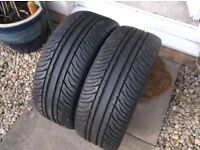 195 X 45 X 15 s x 2 ,kumho ecsta sport tyres excel cond/tread , 7mm , taken off my v w golf alloys