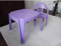 Child's purple plastic table & chair. Suit 2 - 5 year old. £7.50 o.n.o.