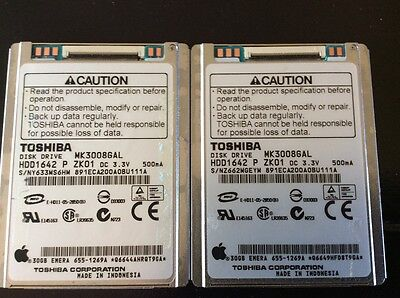 "Lot of 2 1.8"" 30GB MK3008GAL ZIF Hard Drive for Apple iPod Video Classic 5th 5.5"