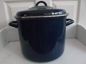 Casserole Pan Lidded Stock Pot Huge 8 Litre (approx. 14 pints) Blue Enamel Pot Two Handles Vgc
