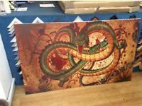 3 piece dragon canvas print.
