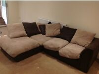 FABRIC CORNER SOFA FOR SALE 12 MONTHS OLD - MUST GO ASAP - FREE DELIVERY LONDON - £210