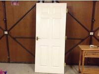 £5 Internal Fire Rated Door in White Gloss with 3 x Brass Hinges & Brass Handles both sides