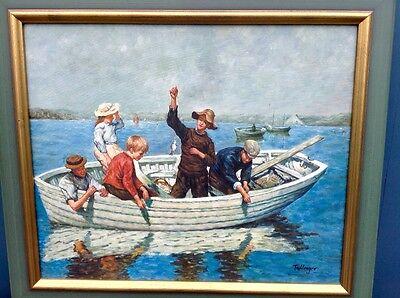 Ölbild Fischerjungs 50x60 sign. Holzrahmen