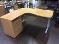 Beech L Shape Desk & Filing Side Cabinet